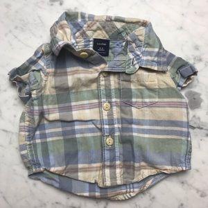 Baby Gap Plaid Short Sleeve Button Down Shirt 0-3M